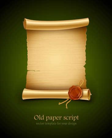 old blank paper script background with stamp Illustration
