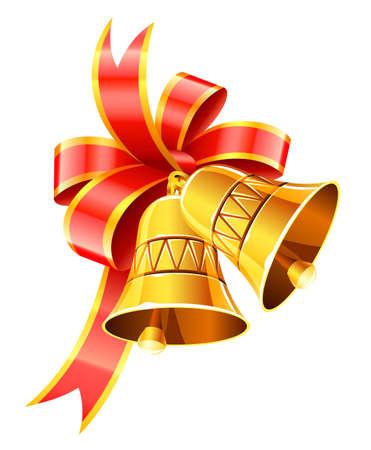campanas de oro de Navidad con la ilustración del vector rojo arco aislado sobre fondo blanco