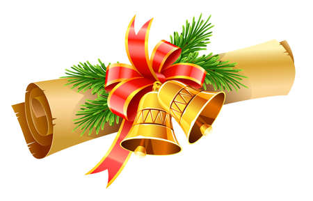 gold christmas bells with red bow and paper scroll vector illustration isolated on white background