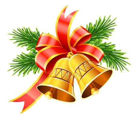 Gouden Kerst klokken met rode strik en dennen vector illustratie op witte achtergrond