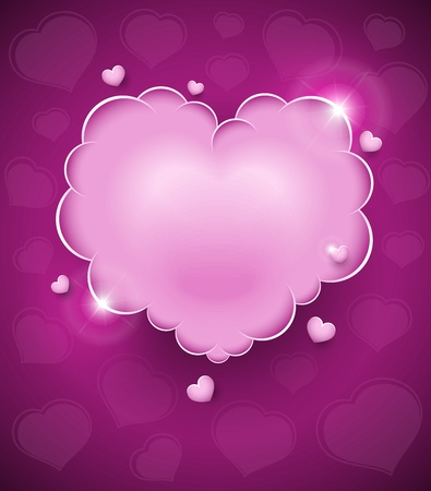 pink glamour heart cloud vector illustration for Valentines day. EPS10. Transparent objects used for shadows and lights drawing