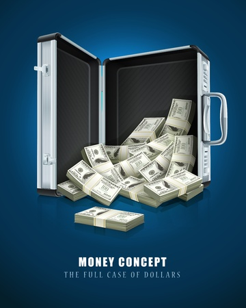 case with dollars money concept vector illustration EPS10. Transparent objects used for shadows and lights drawing