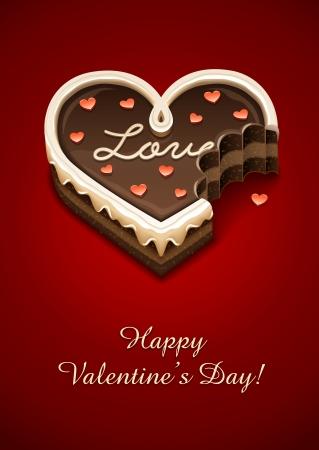 grignoté un gâteau au chocolat doux comme c?ur avec illustration vectorielle amour EPS10. Les objets transparents utilisés pour les ombres et les lumières de dessin Vecteurs