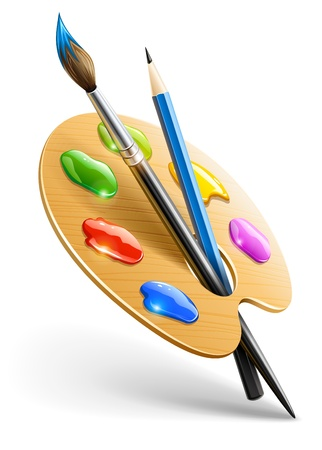 Art palette with paint brush and pencil tools for drawing  일러스트