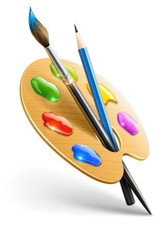 Palette arte con pennello e strumenti per il disegno a matita