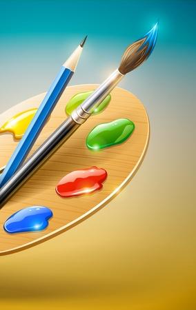 Palette arte con pennello e strumenti per il disegno a matita Vettoriali