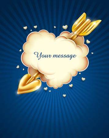 heart cloud strike by gold cupid's arrow