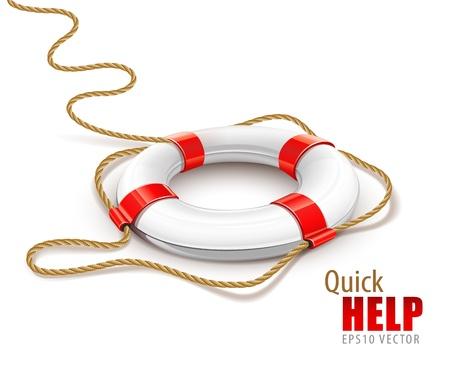 Anillo de rescate para ayuda rápida aislado sobre fondo blanco.