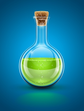 glass chemical flask with green toxic liquid and cork illustration. Transparent objects used for shadows and lights drawing Illustration