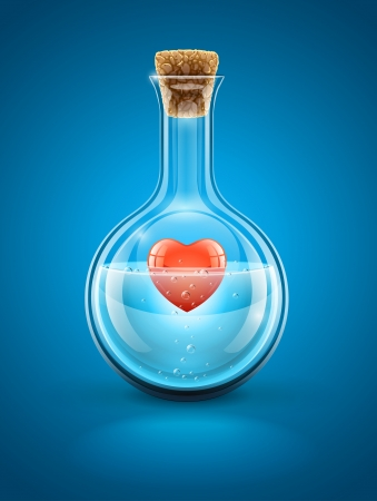 Glass flask bottle with red heart in water inside closed by cork. Transparent objects used for shadows and lights drawing