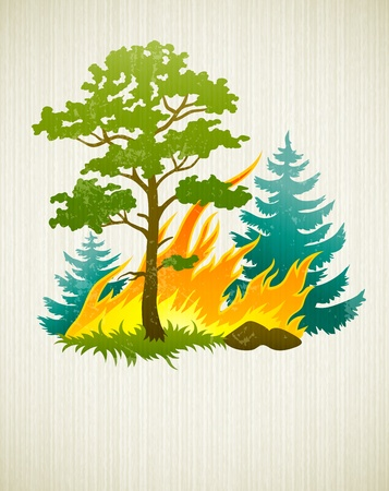 wildfire disaster with burning forest tree and fir trees. Transparent objects used for shadows and lights drawing 일러스트