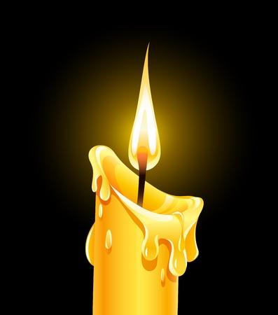 Fire of burning wax candle.  Illustration