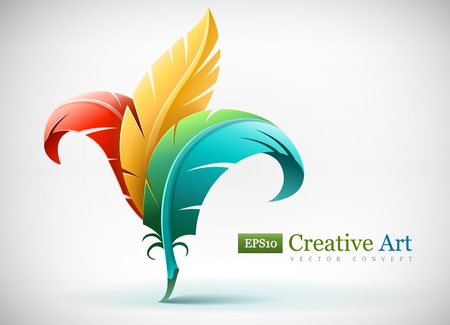 creative art concept with color red yellow and blue feathers. Vector illustration EPS10. Transparent objects used for shadows and lights drawing.