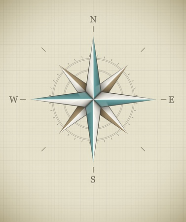 Antique wind rose symbol for navigation. Vector illustration EPS10. Transparent objects used for shadows and lights drawing.