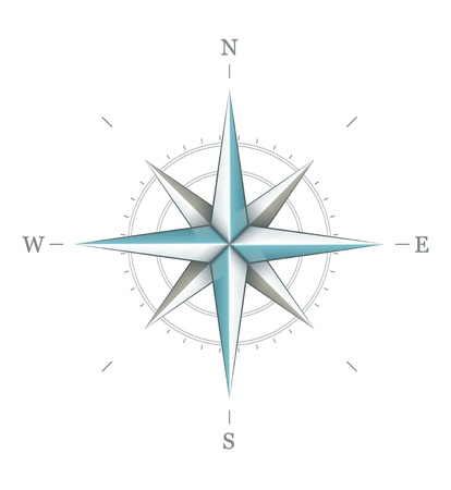Antique wind rose symbol for navigation isolated on white background. Transparent objects used for shadows and lights drawing.