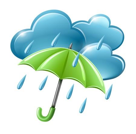 icono del tiempo de lluvias con las nubes y la ilustración paraguas aislados sobre fondo blanco. Los objetos transparentes utilizados para las sombras y las luces de giro.