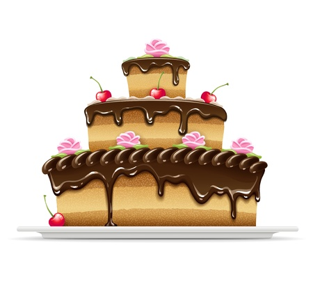 sweet chocolate cake for birthday holiday. Transparent objects used for shadows and lights drawing.