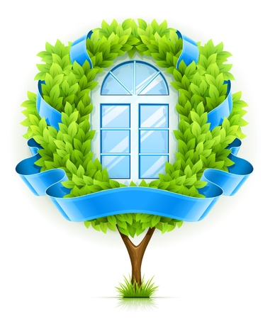 Ecological window concept with green tree. illustration isolated on white background . Transparent objects used for shadows and lights drawing.