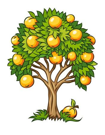 Ilustración de árboles frutales aislados sobre fondo blanco