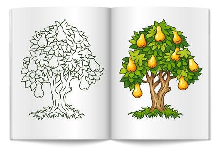 perenboom met rijpe vruchten op het boek van spread illustratie geà ¯ soleerd op witte achtergrond