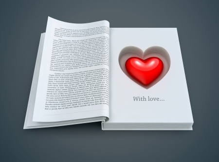 open book with red heart inside. 3d-illustration for Valentines day
