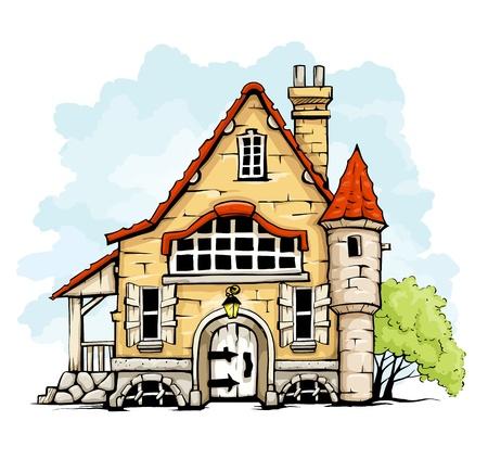 vieille maison de conte de fées dans l'illustration de style rétro vecteur isolé sur fond blanc