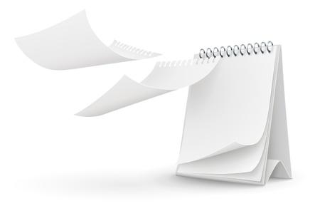 Kalendersjabloon met blanco pagina vector illustratie geïsoleerd op witte achtergrond EPS10. Transparante objecten gebruikt voor schaduwen en verlichting tekening. Stockfoto - 17726404