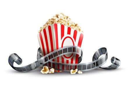 papieren zak met popcorn en film reel vector illustratie geïsoleerd op witte achtergrond EPS10. Transparante objecten gebruikt voor schaduwen en verlichting tekening. Vector Illustratie