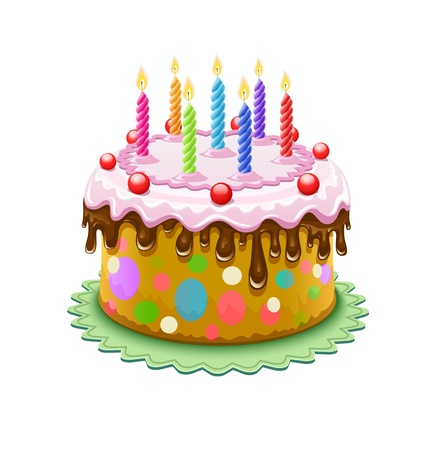 birthday cake with chocolate creme and burning candles isolated on white background - eps10 vector illustration. Transparent objects used for shadows and lights drawing