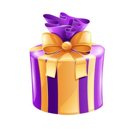 Cadeau avec ruban d'or isolé sur fond blanc - illustration. Les objets transparents utilisés pour les feux de dessin Banque d'images - 18583586