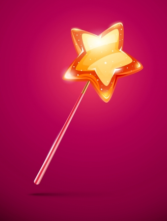 fairytale magic wand with shining star at the end - eps10 vector illustration. Transparent objects used for lifhts and shadows drawing