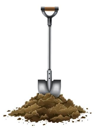 shovel tool for gardening work in ground isolated on white background - EPS10 vector illustration
