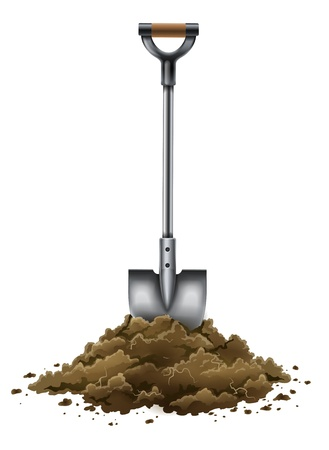 shovel tool for gardening work in ground isolated on white background - EPS10 vector illustration