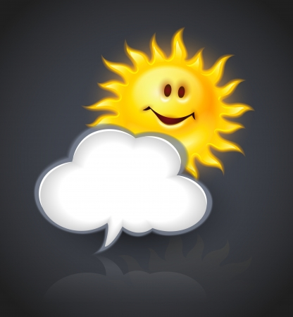 Smiling Yellow Sun And Cloud Symbol For Text Message Royalty Free