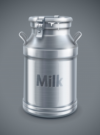 can container for milk on gray background   Ilustração