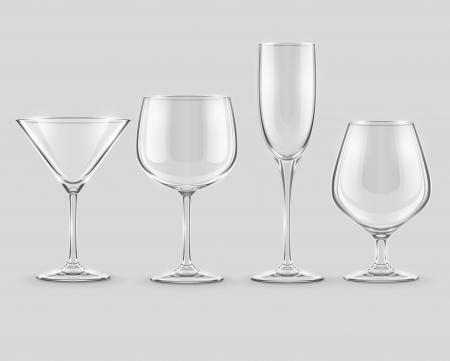 set of transparent glass goblets