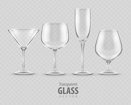set of transparent glass goblets - EPS10 vector illustration