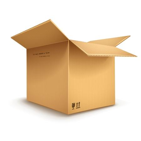 boîte de carton vide ouvert isolé sur fond blanc transparent - eps10 illustration vectorielle Vecteurs