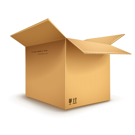 empty cardboard box opened isolated on transparent white background - eps10 vector illustration