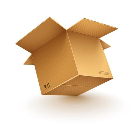 empty opened cardboard box isolated on transparent white background - eps10 vector illustration