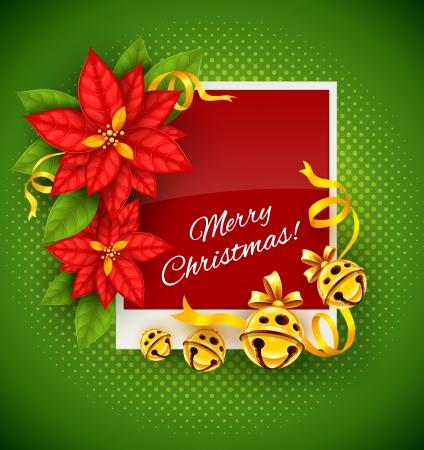 Kerst wenskaart met traditionele rode poinsettia bloemen en goud jingle bells op groene achtergrond - vectorillustratie eps10