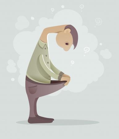 Sad man with problems. Eps10 vector illustration