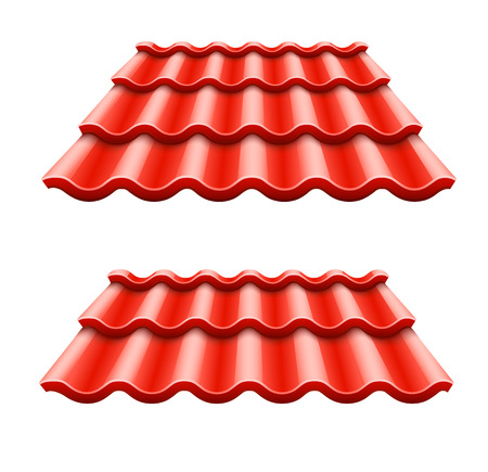 Red corrugated tile element of roof.  Isolated on white background Vettoriali