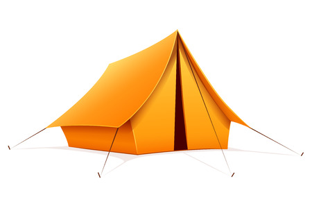 Touristic camping tent. Isolated on white background