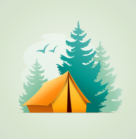 Tent in forest camping. Isolated on white background Illustration