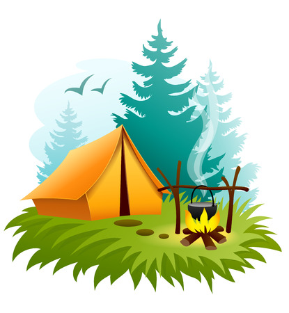 Camping in forest with tent and campfire.
