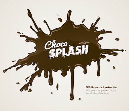 Chocolate splash blot with drops and blot.