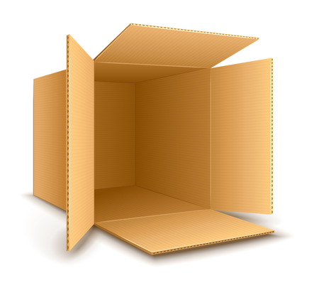 Open empty cardboard box.