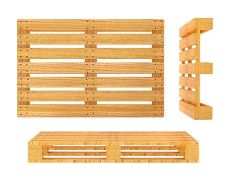 木製パレットです。3 d レンダリングされたイラスト。白い背景で隔離されました。クリッピング パスが含まれています