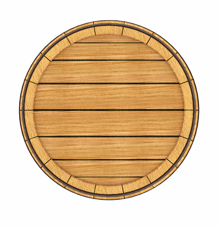 Wooden barrel top view. 3d rendered illustration. Isolated on white background. Clipping path included